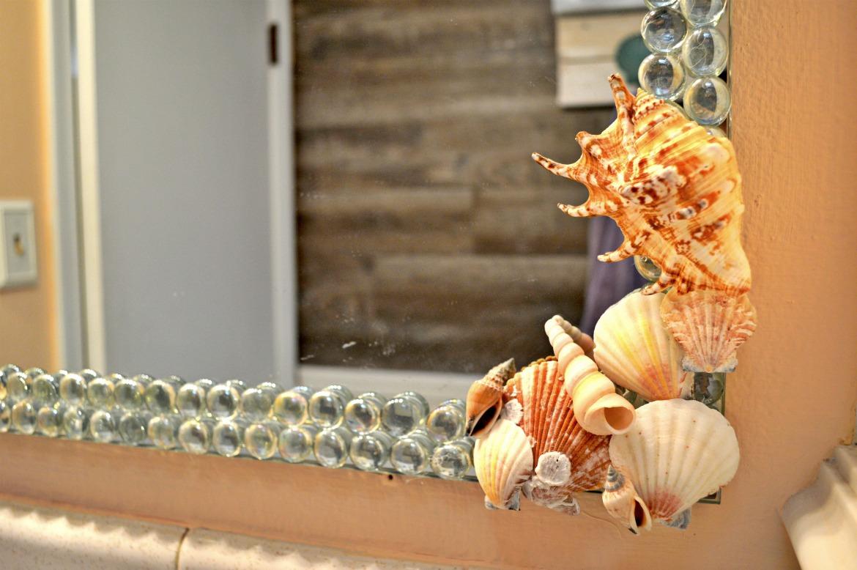 Beach Themed DIY Seashells And Glass Gem Mirror Decor