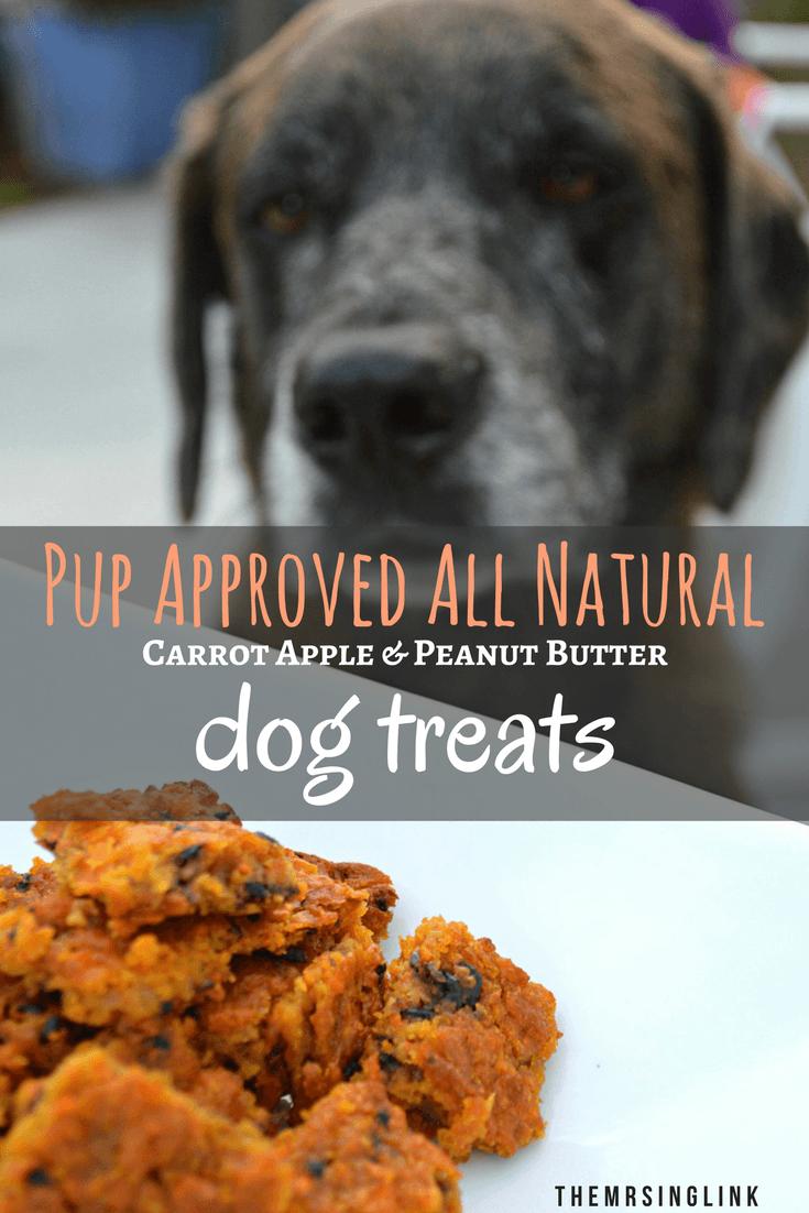 Pup Approved Carrot Apple Natural Baked Dog Treats | Homemade dog treats | Dog treat recipes | Peanut butter dog treats | All natural baked dog biscuits | theMRSingLink
