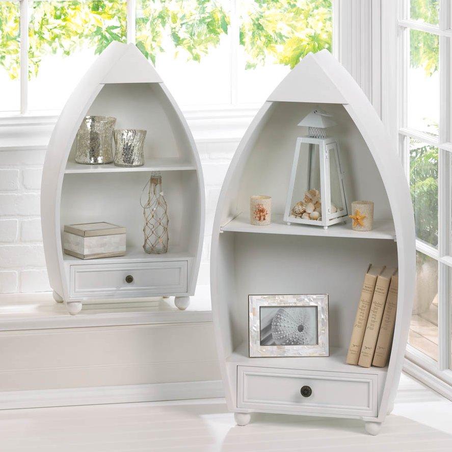 White Sailboat Nautical 2-Tier Self Standing Shelves | 50 Nautical Inspired Ideas For Home Decor | Inexpensive Nautical Decor | DIY Home Decor | theMRSingLink