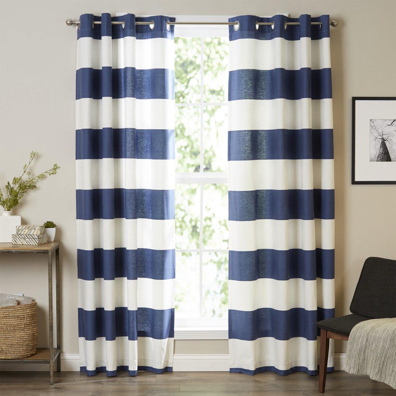 Nautical Blue Striped Drapery | 50 Nautical Inspired Ideas For Home Decor | Inexpensive Nautical Decor | DIY Home Decor | theMRSingLink