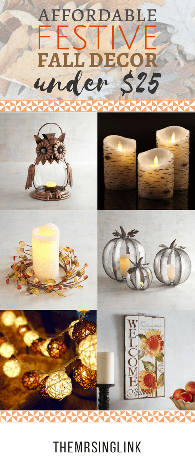 Affordable Festive Fall Decor Under $20 | Fall Home Decor | Fall Decorations | Thanksgiving Home Decor | Home Decor Ideas | Fall Decor Ideas | Home Decor Under $25 | Holiday Decor Ideas | Holiday Decor Under $25 | theMRSingLink