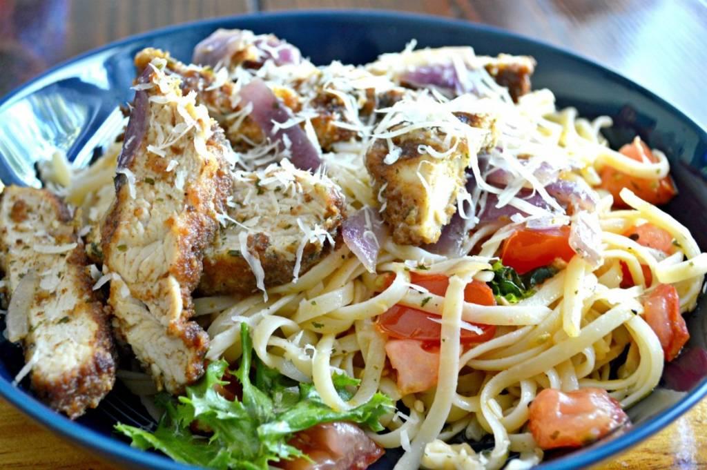 Savory Skillet Bruschetta Chicken Pasta | Pasta Recipes | Easy Dinner Recipes | Delicious Italian Recipes | Simple Pasta Recipes | Pan Fried Chicken | Chicken and Pasta | theMRSingLink