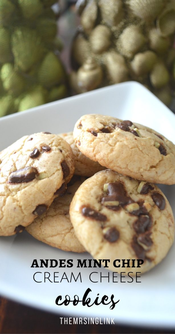 Andes Mint Chip Cream Cheese Cookies | Holiday Cookie Recipes | Simple Cookie Recipes | Mint Chip Cookies | Soft and Chewy Cookie Recipes | #recipes #desserts #cookies #Andes #mintchip | theMRSingLink