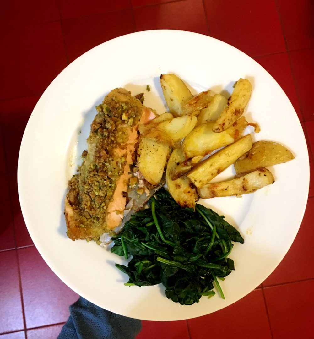 Honey Pistachio Salmon with Spinach & Crunchy Fries | A Bride's Advice