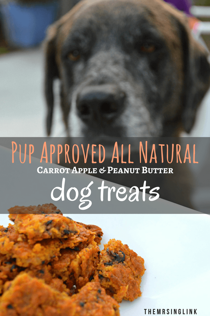 Pup Approved Carrot Apple Natural Baked Dog Treats | Homemade dog treats | Dog treat recipes | Peanut butter dog treats | All natural baked dog biscuits | theMRSingLink
