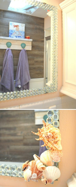 DIY Beachy Glass Gem Bathroom Mirror Decor theMRSingLink