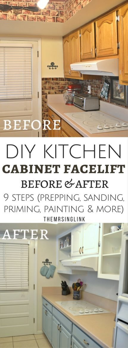 9 Crucial Steps To DIY Painting Wood Cabinets | DIY Painting Wood Kitchen Cabinets | Small Kitchen DIY Renovation | How to paint wood cabinets | DIY before and after | DIY tips | DIY Home Improvements | theMRSingLink