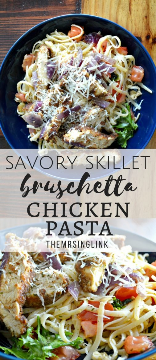 Savory Skillet Bruschetta Chicken Pasta | Pasta Recipes | Easy Dinner Recipes | Delicious Italian Recipes | Simple Pasta Recipes | Pan Fried Chicken | Chicken and Pasta | theMRSingLink