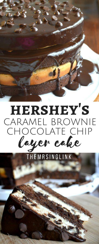 Hershey's Caramel Brownie Chocolate Chip Cake | Dessert Recipes | Best Cake Recipes | Chocolate Chip Cake | Caramel Brownie Recipe | theMRSingLink