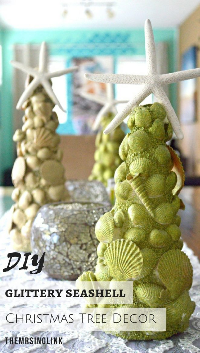 Glittery DIY Seashell Christmas Tree Decor | DIY Christmas Crafts | DIY Christmas Decorations | Beachy Christmas Decor | Coastal Christmas Decor | Seashell Starfish Christmas Trees | Glittery Christmas Tree Craft | #crafts #DIY #Christmas #seashells | theMRSingLink
